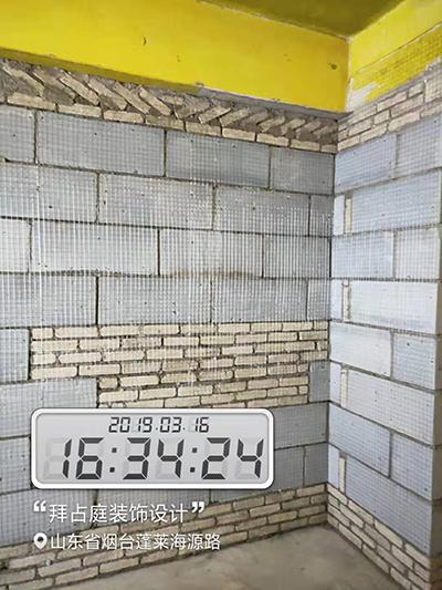 小灰砖与轻体砖混砌